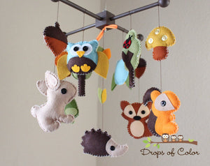 Forest Mobile, Baby Crib Mobile, Wood Forest Creatures Squirrel Rabbit Owl, Nursery Room Decor