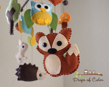 Load image into Gallery viewer, Forest Mobile, Baby Crib Mobile, Wood Forest Creatures Squirrel Rabbit Owl, Nursery Room Decor