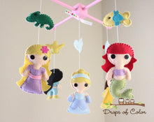 Load image into Gallery viewer, Princess Mobile, Baby Crib Mobile, Princesses Nursery Room Decor