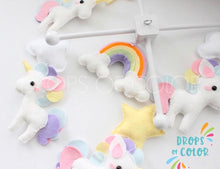 Load image into Gallery viewer, Unicorn Mobile, Baby Crib Mobile, Whimsical Pastel Unicorn, Girl Nursery Room Decor