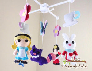 Alice in Wonderland Mobile, Baby Crib Mobile, Nursery Decor