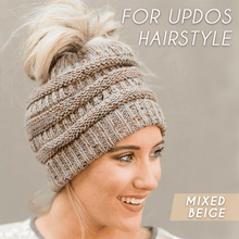 Load image into Gallery viewer, Easy-Wear Knitted Beanies For Ponytails