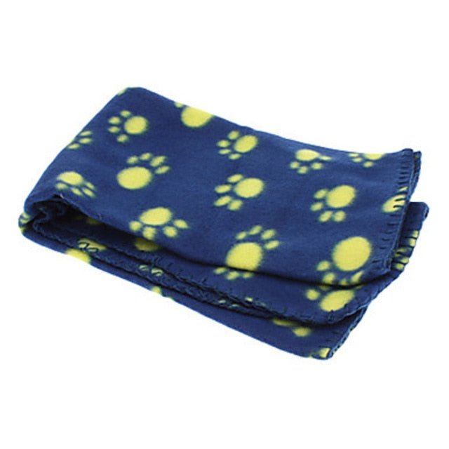 Soft Warm Fleece Paw Print Design Pet Mat