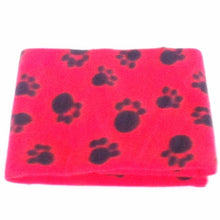 Load image into Gallery viewer, Soft Warm Fleece Paw Print Design Pet Mat