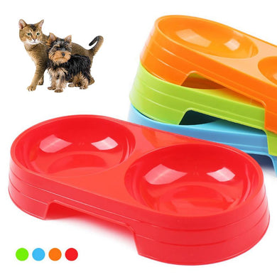 Pet Puppy Dog Cat Food Water Dish Feeder Plastic No Slip Double Bowl Dispenser