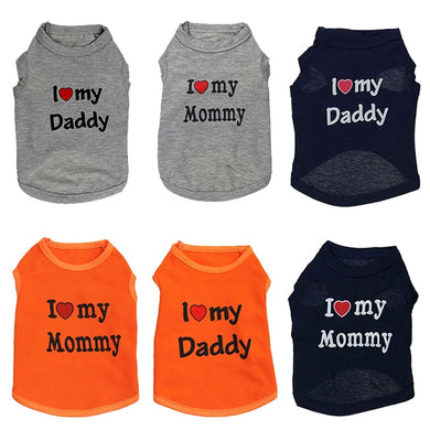 Love Cat Clothes Cotton Pet T Shirts Clothing For Cats Vest Summer Cat Clothes Love Mommy Daddy Vest Gatos Pet Clothing