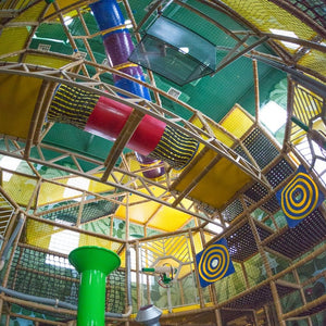 Jungle PlayLand at ZDT's Amusement Park - Giant five-Level playground with tunnels and ball cannons.