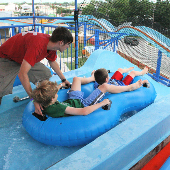 Mad Raft at ZDT's Amusement Park - Boys get ready to ride a water coaster.