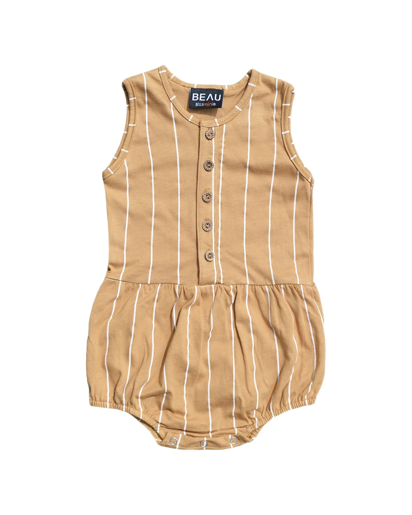 PINSTRIPE BUBBLE ROMPER - TAN