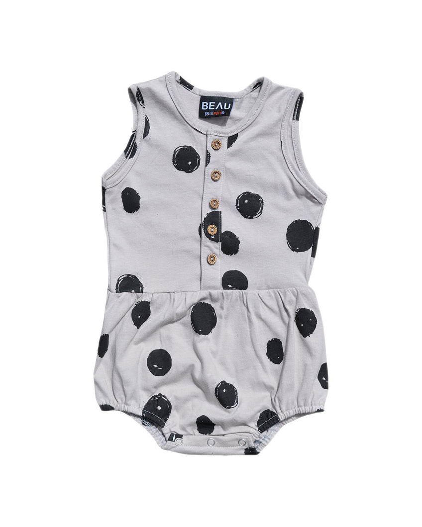 SPOTTY BUBBLE ROMPER - GREY