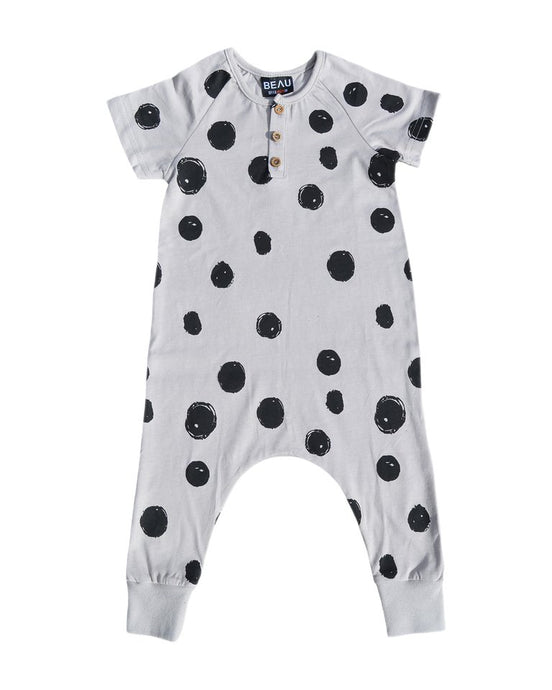 SPOTTY ROMPER - GREY