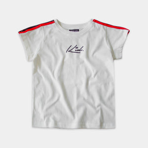 STRIPE SLEEVE TEE - WHITE