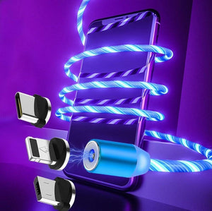 LED Glow Flowing magnetic Charger usb cable
