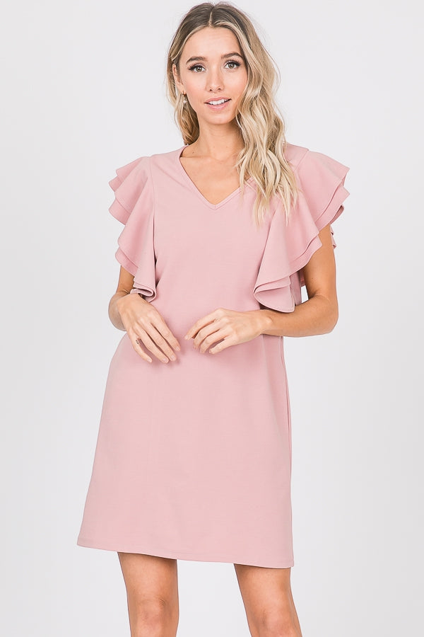 A Step Ahead - Ruffled Sleeve Shift Dress - chelsea-the-collection