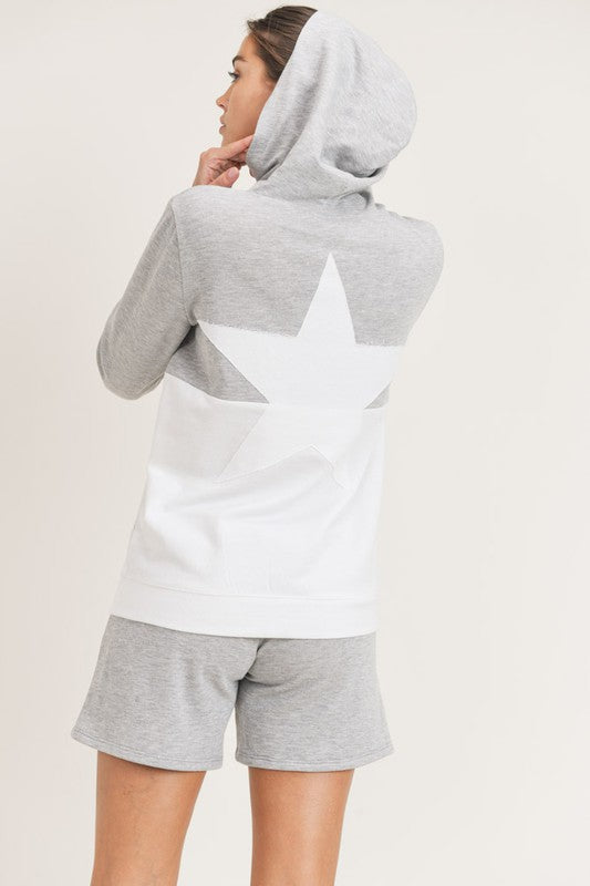 Rock On - Colorblock Hoodie With Star Patch