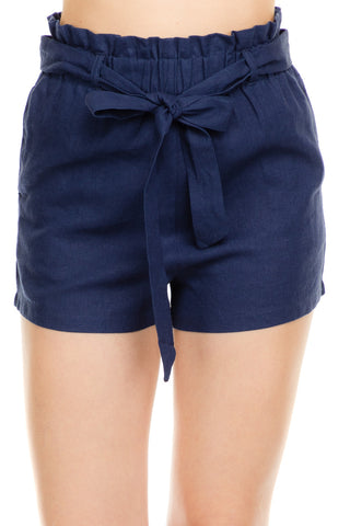 House in The Hampton's - Navy Paper Bag Shorts - chelsea-the-collection