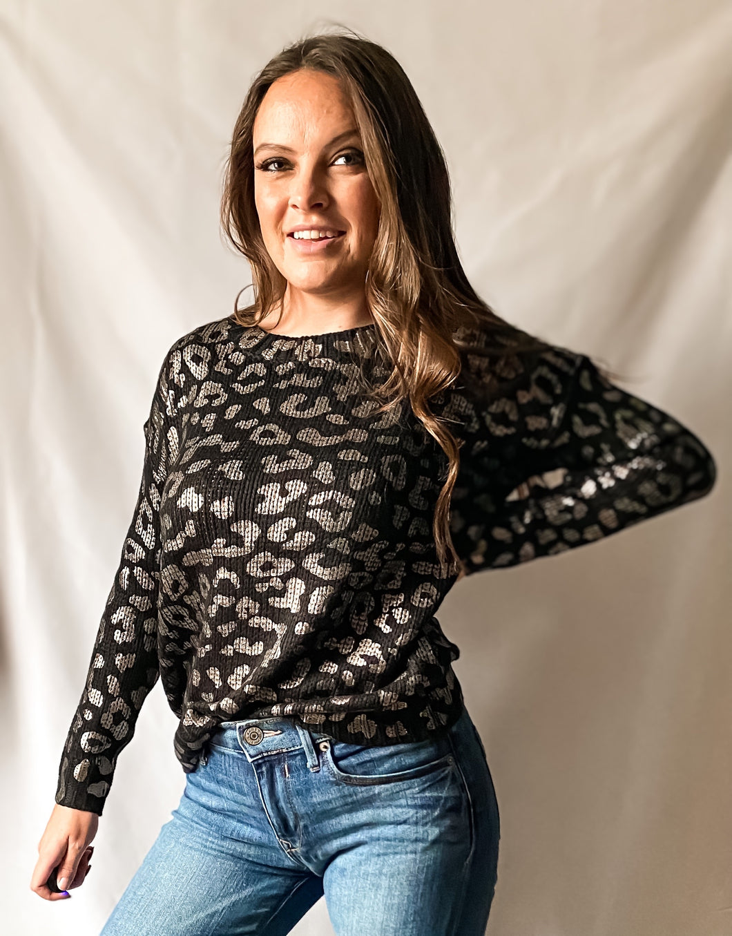 Rockin' Around - Metallic Leopard Print Sweater in Black