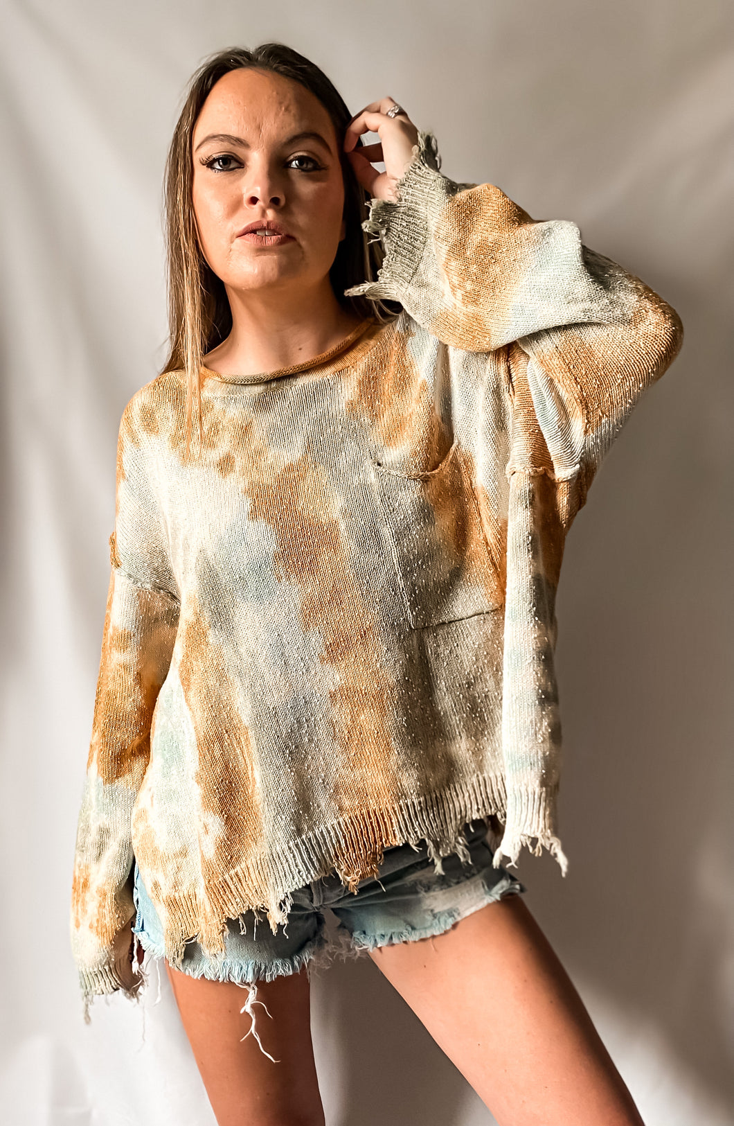 I'm With The Hippies - Tie-Dye Raw Cut Edge Knit Top