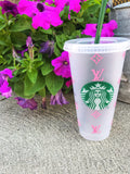 Pink LV Starbucks Tumbler - chelsea-the-collection