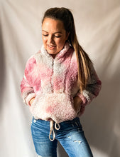 Load image into Gallery viewer, A New Day - Tie-Dye Cropped Sherpa Pullover