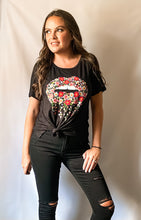 Load image into Gallery viewer, Floral Dripping Lips Graphic Tee Shirt