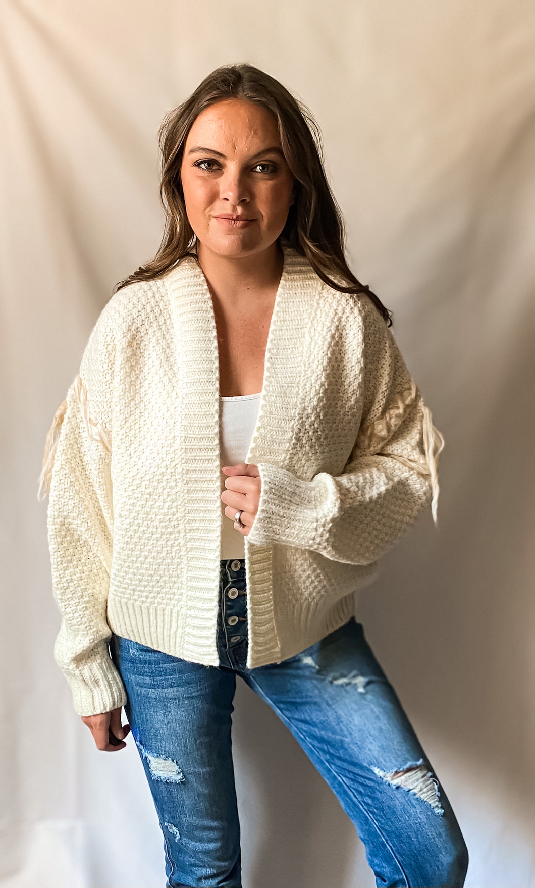 Out West - Cable Knit Cardigan with Fringe