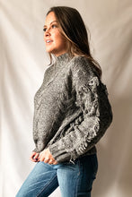 Load image into Gallery viewer, Staci - Fringe Cable Knit Sweater in Grey