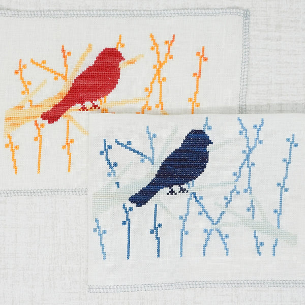 Free Bird on a branch cross stitch pattern stitched models