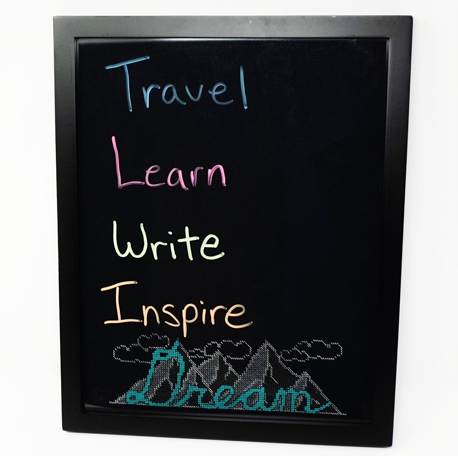 Dream cross stitch blackboard piece with dry erase writing