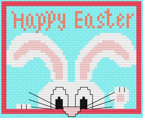 Nosy Easter Bunny without Chick Free Cross Stitch Pattern
