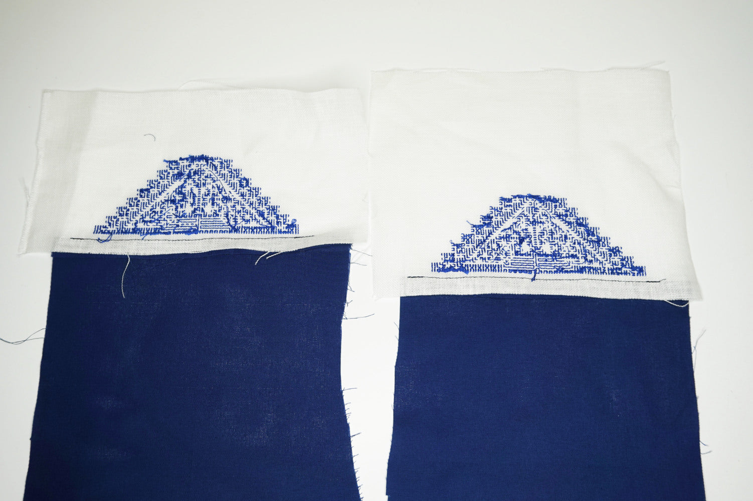 ironed fabric for flats covered with cross stitch