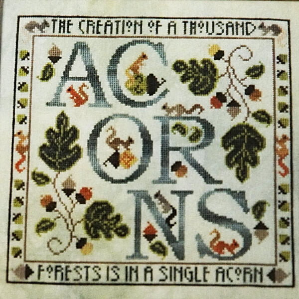 Acorns counted cross stitch pattern