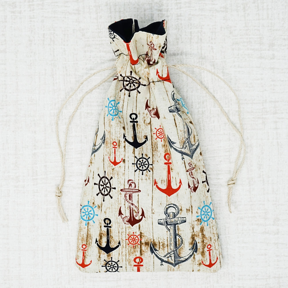 Anchor cross stitch drawstring bag