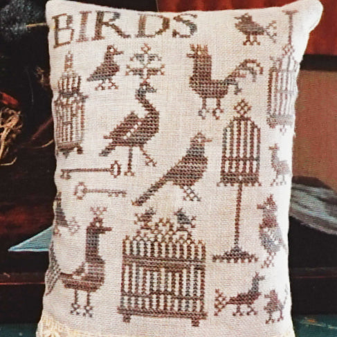 Antique Birds and Cages counted cross stitch pattern
