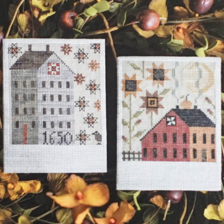 Autumn Saltboxes counted cross stitch pattern