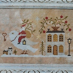 Santa, the Dove, and the Key counted cross stitch chart