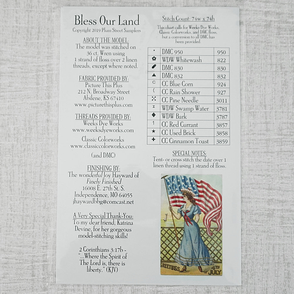 Bless Our Land pattern for sale