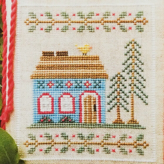 Blue Forest Cottage counted cross stitch pattern
