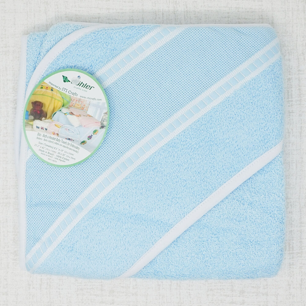 Blue Hooded Baby Towel with stitching section
