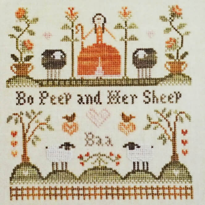 Bo Peep and Her Sheep counted cross stitch pattern