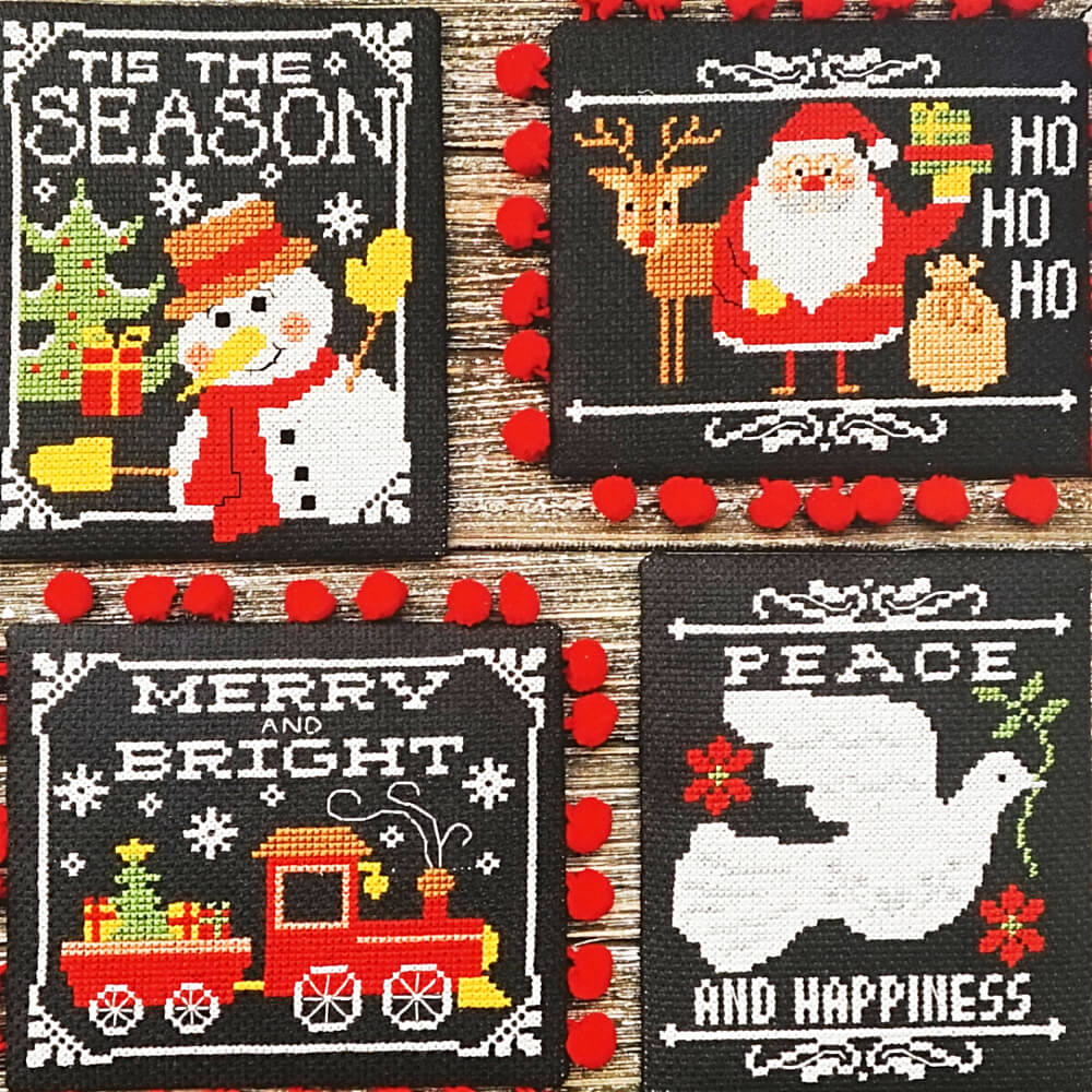 Chalkboard Christmas Greetings counted cross stitch pattern