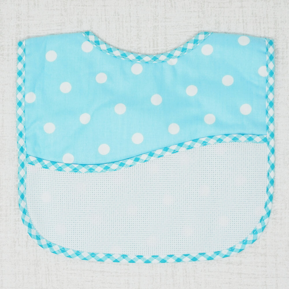 Blue Polka Dot Toddler Bib front view