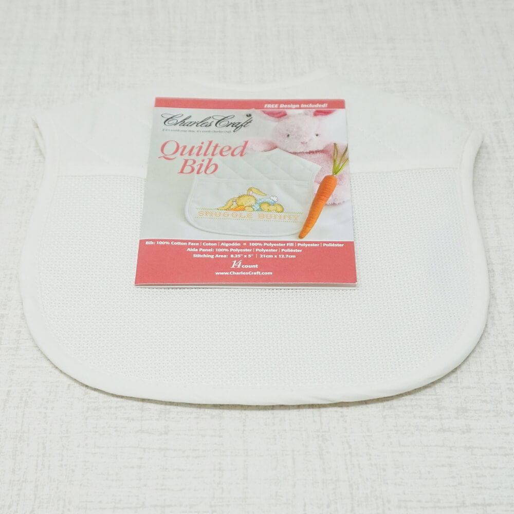 White Quilted Bib angled view