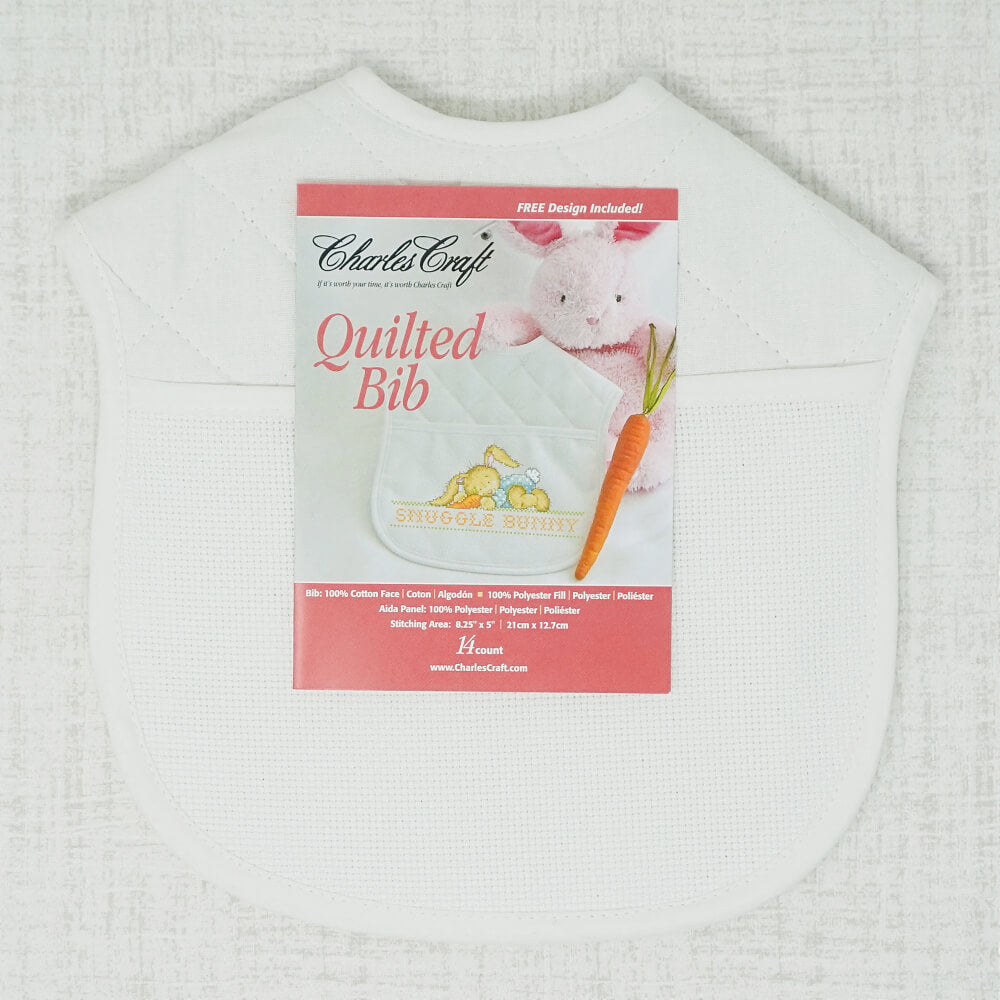 White Quilted Bib with stitching section front view