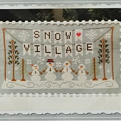 Snow Village Banner counted cross stitch chart
