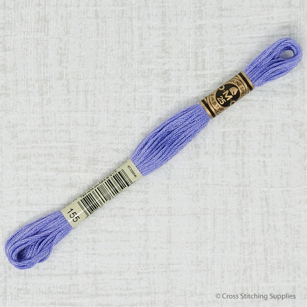 DMC 155 medium dark blue violet embroidery thread
