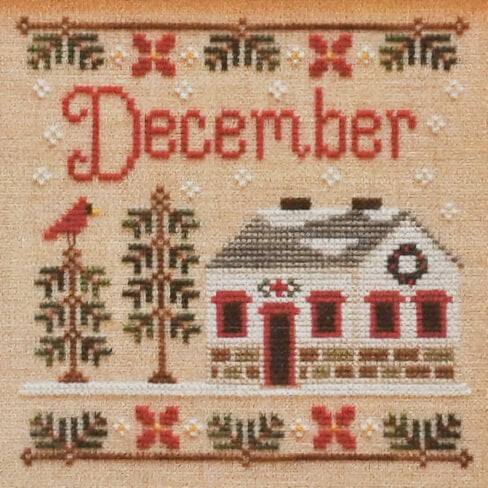 December Cottage counted cross stitch pattern
