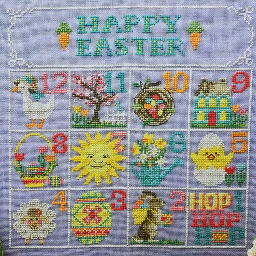 Easter Calendar counted cross stitch pattern