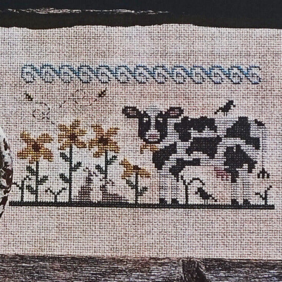 Eeny Meeny Miny Moo counted cross stitch pattern