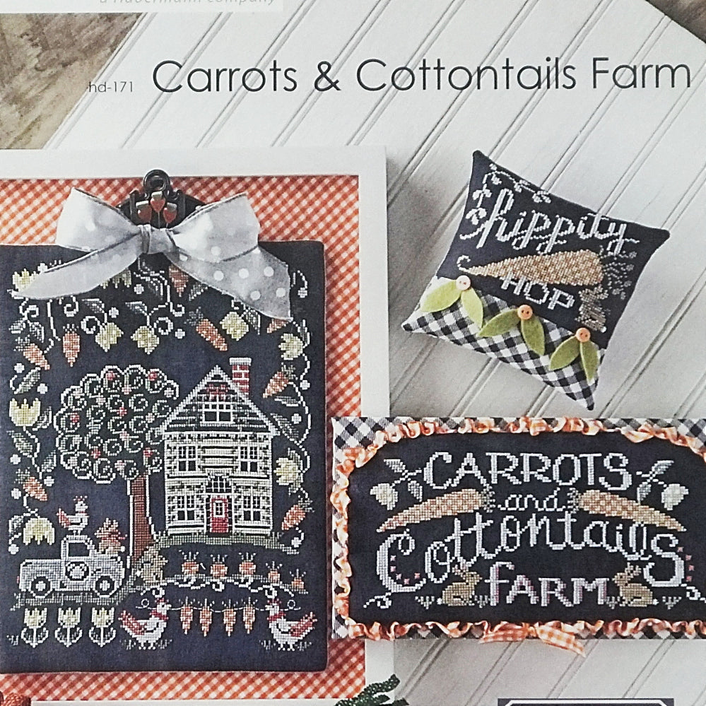 Carrots and Cottontails farm counted cross stitch pattern